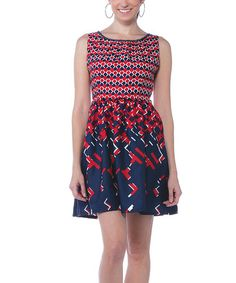 Love this Blue & Red Shimmer-Neck Fit & Flare Dress by Young Threads on #zulily! #zulilyfinds