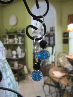 Blue Artisan LampWork Glass With Black Onyx And by JKCustomDesigns