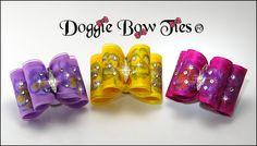 Full Size Show Dog Bows French Pansy Organza  Sprinkled w/Swarvorski Crystals Lilac, Marigold, Raspberry