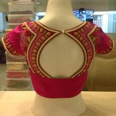Trendy Saree Blouse Designs For Silk Sarees 2018 - ArtsyCraftsyDad Hand Work Blouse Design, Simple Blouse Designs, Blouse Back Neck Designs, Stylish Blouse Design, Designer Blouse Patterns, Fancy Blouse Designs, Bridal Blouse Designs, Blouse Designs For Saree, Latest Blouse Designs