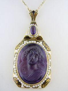 Antique Art Nouveau 14K Enamel Carved Amethyst Female Cameo Pendant Necklace  $5,900.00
