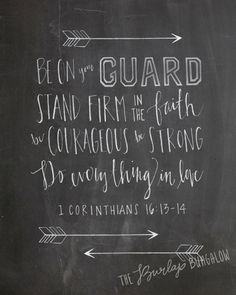 1 Corinthians 16:13, Hand lettered scripture art chalkboard printable, Do Everything in Love, from The Burlap Bungalow on etsy.