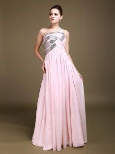 One Shoulder Chiffon A Line Reception Dress with Sequin Details
