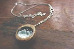 december mountain necklace- hand painted wood landscape jewelry- oval wood necklace