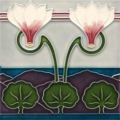 F 138 V1 Art Nouveau Tile, origin: Osterather mosaic and Wandplattenfabrik, Osterath in Dusseldorf, circa 1905♥≻★≺♥