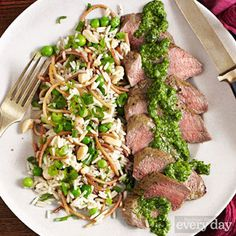 Lamb Loin with Green Chile-Mint Chimichurri & Marcona Almond Rice Pilaf