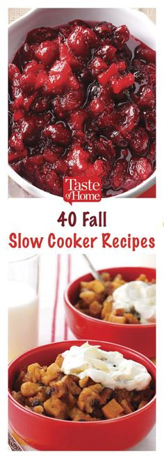 Fill your home with these slow cooker fall recipes. Use your favorite fall ingredients to make hearty dinners, simple sides and desserts. Fall Crockpot Recipes, Crockpot Dishes, Crock Pot Slow Cooker, Crock Pot Cooking, Slow Cooker Recipes, Fall Recipes, Beef Recipes, Holiday Recipes, Cooking Recipes