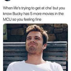 I still think he deserves more in other words i want to see more of the character and sebastian Marvel Fan, Marvel Dc Comics, Marvel Avengers, Avengers Memes, Marvel Memes, Sebastian Stan, Infinity War, Bucky And Steve, Dc Memes