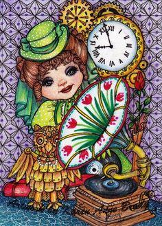Original ACEO Art Victorian Steampunk Girl Mechanical Owl Gramaphone Wall Clock