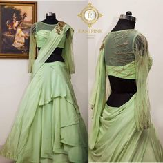 Beautiful pista green color pre draped saree and blouse. Blouse with floral design hand embroidery bead and zardosi work. Saree gown with full sleeves and layered lehenga. Lehenga Designs, Saree Blouse Designs, Indian Dresses Traditional, Birthday Dress Women, Lehenga Gown, Anarkali Dress, Bridal Lehenga Collection, Drape Gowns, Wedding Dress Patterns
