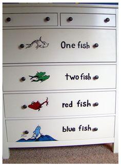 Great dresser for the cottage.  http://www.chriswilhelmart.com/wp-content/uploads/2011/07/Dr-Seuss-Mural-One-Fish-Two-Fish-Dresser-smaller-950x1308.jpg