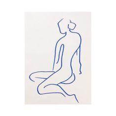 Elin Krönström (instagram @kronstrom) - Blue marker pen drawing - made on off white A3 paper