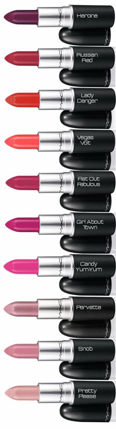 OMG I want each and everyone of these MAC lipsticks! The colors are all amazing.     http://lookandlovewithlolo.blogspot.com/2014/03/my-favorite-makeup-and-beauty-products.html