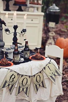 love the banner...Haunted Forest Children's Halloween Party