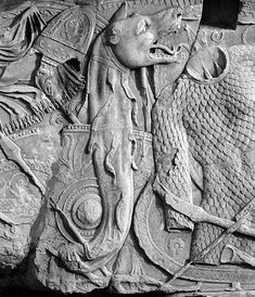 Dacian Draco on Trajan's Column. The Dacian Draco was the standard and ensign of troops of the ancient Dacian people. It can be seen in the hands of the soldiers of Decebalus in several scenes depicted on Trajan's Column in Rome, Italy. Ancient Aliens, Ancient Rome, Ancient Art, Ancient History, Draco, European Tribes, European People, Trajan's Column, Roman Britain