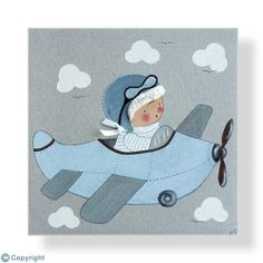 Cuadro infantil personalizado: Niño aviador (ref. 12000-01) Japanese Patchwork, Patchwork Baby, Applique Patterns, Applique Quilts, Applique Ideas, Nursery Patterns, Baby Painting, Cute Embroidery, 1st Boy Birthday