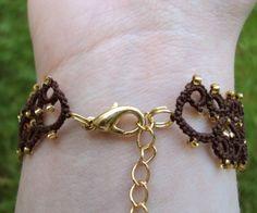 Steampunk Brown Gold Tatted Bracelet Lillian by TataniaRosa