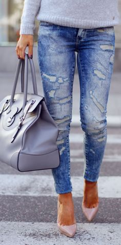 Blue Ripped Denim Skinnies