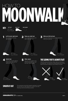 This animated infographic will show you one more time, how to moonwalk like Michael Jackson. Simple Life Hacks, Useful Life Hacks, Cool Dance Moves, Steps Dance, Like Mike, The Jacksons, The More You Know, Live Action, Just In Case