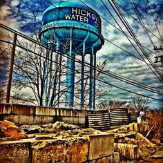 Hicksville water tower. The water tower was seen from the back of my childhood home on Seymor Lane