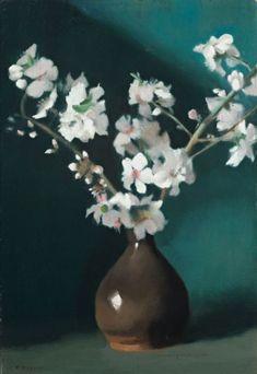 Clarice Beckett (Australian painter) 1887 - 1935 Almond Blossom, s. oil on composition board x cm. Australian Painting, Australian Artists, Almond Blossom, Digital Museum, Collaborative Art, Art Auction, Art Market, Flower Art, Art Flowers