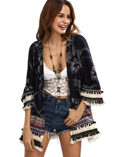 Cheap women tops, Buy Quality casual women tops directly from China tops for summer Suppliers: SHEIN Casual Womens Tops for Summer Ladies Three Quarter Length Sleeve Multicolor Print Fringe Pom-pom Decorated Kimono Haut Kimono, Kimono Top, Kimono Cardigan, Woman Outfits, Fashion Outfits, Womens Fashion, Fashion Clothes, Kimono Fashion, Casual Tops For Ladies