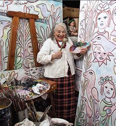 The Indelible Artiste: Mirka Mora. [she's using THAT brush on this artwork? Artist Art, Artist At Work, Baba Yaga, Art Brut, Australian Artists, Outsider Art, Art Plastique, Famous Artists, Art Studios