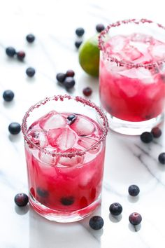 You better believe the color in these Fresh Blueberry Margaritas is entirely natural. Gorgeous!