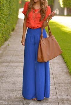 Coordenação de cores vivas!!!! Bolsa caramelo para acalmar as cores no look!!!