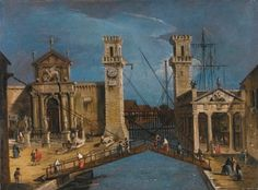 Circle of Francesco Guardi, Venice, the entrance to the Arsenale. Photo Sotheby's