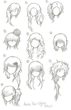 Hairstyles --- Anime, Manga, Drawing, Art, Bun, Curly, Long, Short, Bangs, Spikey [animebleach14 @deviantart]