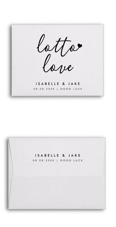 """Simple, stylish """"lotto love"""" wedding day lottery ticket envelope in a modern minimalist design style with a handwritten script typography in classic black and white written in an informal casual style. The text can easily be personalized for a unique one of a kind design for your special day. The perfect way to gift a lottery ticket or scratch card favor to your wedding guests (lottery ticket not included). #wedding #favor #lottery #lotto Minimalist Wedding, Modern Minimalist, Minimalist Design, Wedding Tips, Wedding Cards, Wedding Day, Unusual Wedding Favours, Wedding Favors, Lottery Tickets"""