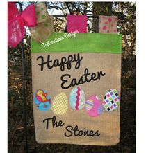 40% Off Today...Easter Garden Flag Personalized Burlap by TallahatchieDesigns