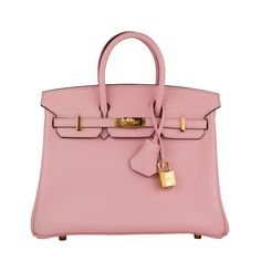 Hermes Handbag Birkin 25 Swift Pink Sakura Gold Hardware 2016. | From a collection of rare vintage top handle bags at https://www.1stdibs.com/fashion/handbags-purses-bags/top-handle-bags/