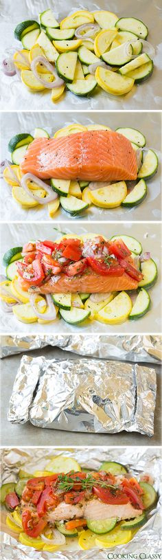 salmon and summer veggies in foil.