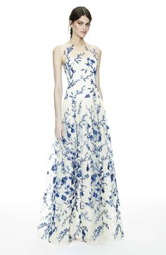 Notte by Marchesa blue and white floral printed evening dress