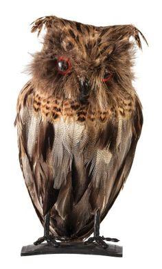 Morbid Enterprises Feather Owl Halloween Decor, Brown, One Size