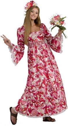Flower Child | Get hippie-dippy with our Women's Hippie Costume dress, a pair of leather sandals, and some wildflowers. $39.99 at Mallatts.com. #halloweencostumeideas #easyhalloweencostumeideas
