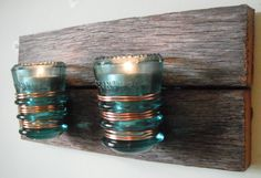 100+ year-old barn wood glass teal telephone / electrical insulator double candle holder. by FoxVintageandAntique on Etsy