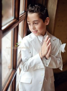 First communion boy - beautiful window light