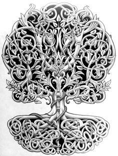 Ideas Celtic Tree Of Life Tattoo People Norse Tattoo, Celtic Tattoos, Viking Tattoos, Arte Viking, Viking Art, Celtic Patterns, Celtic Designs, Islamic Patterns, Celtic Symbols