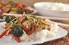 Red Pepper Chicken Stir Fry - your homebased mom not crock pot but could throw most of ingredients in and give it a try!