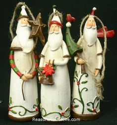Holly trimmed Santa ornaments - a set of 3 very elegant and tasteful Santas artistically crafted. One holds a tree and bird, one a watering bucket, and the other a star. Each ornaments is approx. Elegant Christmas, Christmas Fun, Biscuit, Christmas Wood Crafts, Santa Ornaments, Father Christmas, Clay Projects, Clay Art, Holidays And Events