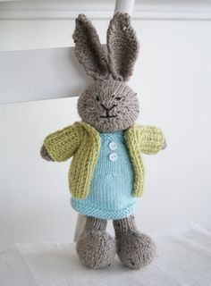 "Knitted Plush Bunny - ""Charlotte"" Hand Knit Toy Rabbit Stuffed Animal. $55.00, via Etsy."