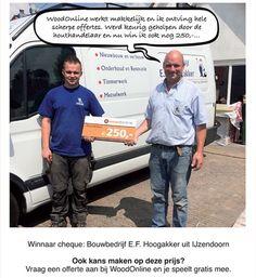Winnaar cheque twv 250,- www.woodonline.nl
