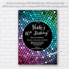 Glitter Invitation, disco invites, disco ball Dance party 10th 16th 18th 20th 30th 40th any age birthday Birthday Party Invitation card5