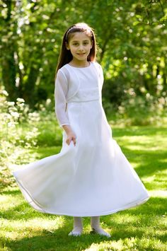Sophisticated Satin and Organza Communion Dress with Long Sleeve Organza Jacket - Ages 7 years 8 years 9 years - Buy a Communion Dress at One Stop