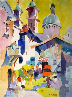 "Watercolor Paintings by artist Frank Webb | ""Taxco Zocalo"", watercolor 22"" x 30"", SOLD"