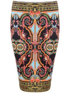 Multicolor Vintage Floral Skinny Skirt 16.48