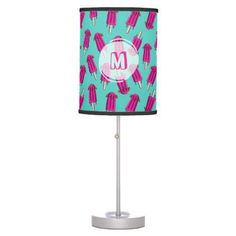 "Monogrammed ""Pupsicle"" Pattern Table Lamp - diy individual customized design unique ideas #LampIllustration"